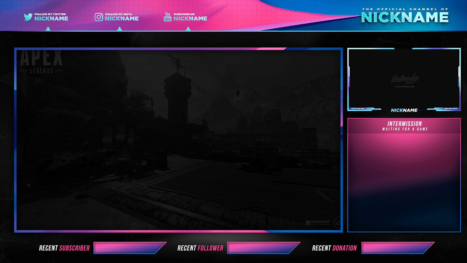 stream overlay blue and pink free psd zonic design download